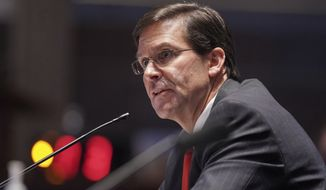 Defense Secretary Mark Esper testifies during a House Armed Services Committee hearing on Thursday, July 9, 2020, on Capitol Hill in Washington. (Greg Nash/Pool via AP)