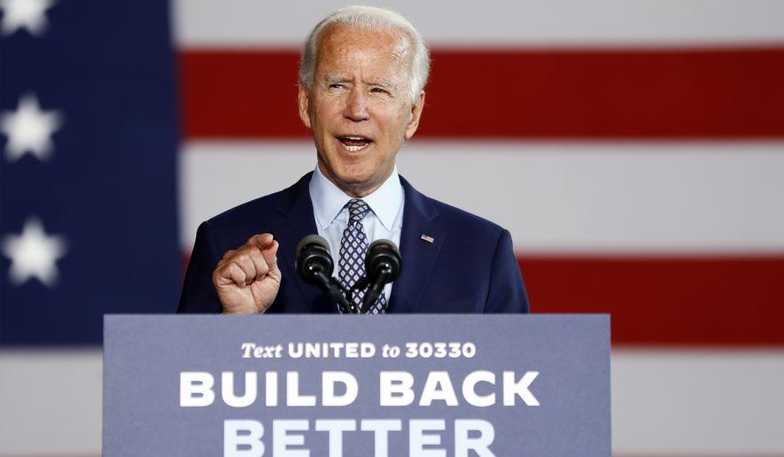 Democratic presidential candidate former Vice President Joe Biden speaks at McGregor Industries in Dunmore, Pa., Thursday, July 9, 2020. (AP Photo/Matt Slocum)