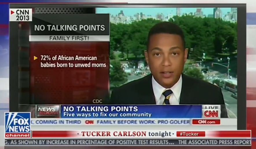 "Fox News host Tucker Carlson resurfaced a 2013 clip on his show Wednesday, July 9, 2020, of CNN anchor Don Lemon criticizing ""thug"" culture and lecturing Black Americans on what is ""acceptable behavior."" (screen grab via Fox News)"