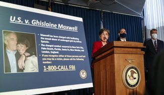 Audrey Strauss, Acting United States Attorney for the Southern District of New York, center, speaks alongside William F. Sweeney Jr., Assistant Director-in-Charge of the New York Office of the Federal Bureau of Investigation, center right, and New York City Police Commissioner Dermot Shea, right, during a news conference to announce charges against Ghislaine Maxwell for her alleged role in the sexual exploitation and abuse of multiple minor girls by Jeffrey Epstein, Thursday, July 2, 2020, in New York. (AP Photo/John Minchillo)