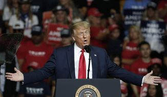 In this June 20, 2020, file photo, President Donald Trump speaks during a campaign rally in Tulsa, Okla. Trump's reelection bid will take baby steps back out onto the road in the coming days after a multi-week hiatus that came amid a massive surge in coronavirus cases across much of the nation and after the debacle of his planned comeback in Oklahoma. (AP Photo/Sue Ogrocki, File)