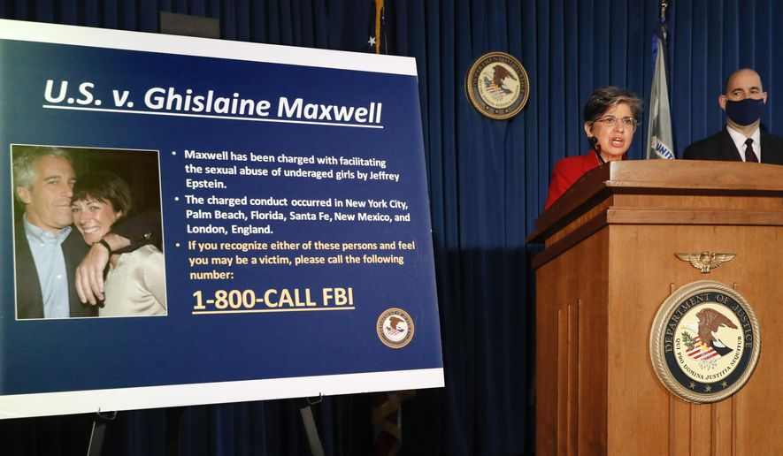 In this file photo, Audrey Strauss, Acting United States Attorney for the Southern District of New York, center, speaks alongside William F. Sweeney Jr., Assistant Director-in-Charge of the New York Office of the Federal Bureau of Investigation, right, during a news conference to announce charges against Ghislaine Maxwell for her alleged role in the sexual exploitation and abuse of multiple minor girls by Jeffrey Epstein, Thursday, July 2, 2020, in New York. (AP Photo/John Minchillo)  **FILE**