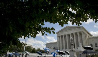 Members of the media set up outside the Supreme Court, Thursday, July 9, 2020, in Washington. (AP Photo/Andrew Harnik)