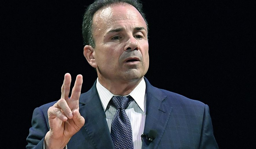 FILE - In this July 12, 2018 file photo, Democratic candidate for governor, Bridgeport Mayor Joe Ganim, speaks during a gubernatorial debate in New Haven, Conn. The New Haven Register reports that Ganim filed suit in state Superior Court against Delta Airlines over a dog bite he says he suffered on a flight in 2018. (AP Photo/Jessica Hill, File)