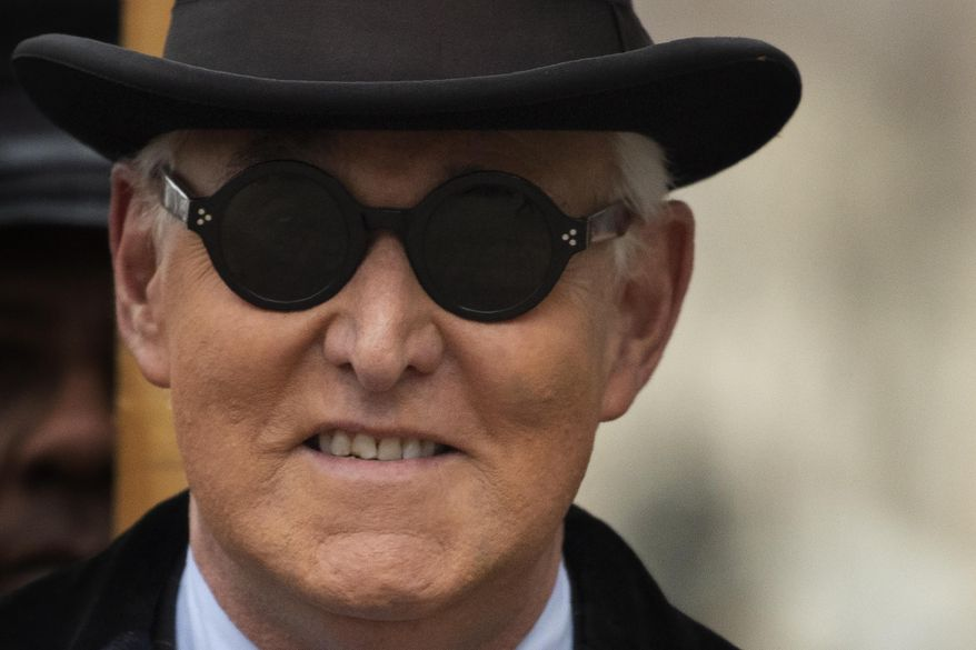 Roger Stone was convicted last year of lying to Congress, witness tampering and obstructing a congressional investigation into accusations of collusion between the Trump campaign and Russian operatives interfering in the 2016 election. (Associated Press/File)