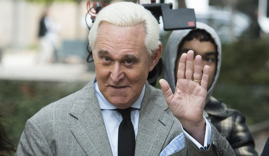 In this Nov. 7, 2019, file photo, Roger Stone arrives at federal court in Washington. (AP Photo/Cliff Owen, File)
