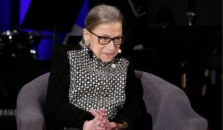 n this Dec. 17, 2019, file photo, Supreme Court Justice Ruth Bader Ginsburg speaks with author Jeffrey Rosen at the National Constitution Center Americas Town Hall at the National Museum of Women in the Arts in Washington. (AP Photo/Steve Helber, File)