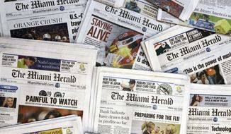 Copies of the McClatchy Co.-owned Miami Herald newspaper are shown Oct. 14, 2009,  in Miami. Hedge fund Chatham Asset Management plans to buy newspaper publisher McClatchy out of bankruptcy, ending 163 years of family control. The companies did not put a price on the deal in an announcement Sunday, July 12, 2020. The agreement still needs the approval of a bankruptcy judge; a hearing is scheduled for July 24. (AP Photo/Wilfredo Lee, File)