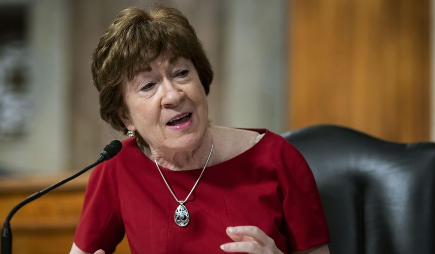 In this June 30, 2020, file photo, Sen. Susan Collins, R-Maine, speaks during a Senate Health, Education, Labor and Pensions Committee hearing on Capitol Hill in Washington.  (Al Drago/Pool via AP, File)  **FILE**