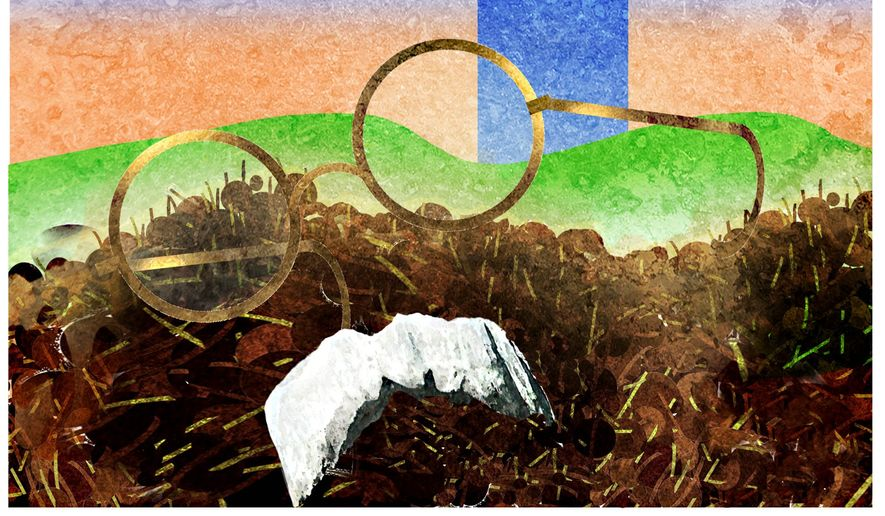 Illustration on John Bolton by Alexander Hunter/The Washington Times