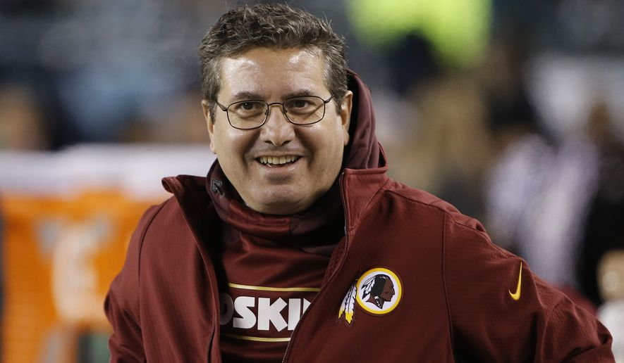 In this Dec. 26, 2015, file photo, Washington Redskins owner Daniel Snyder walks the sidelines during an NFL football game against the Philadelphia Eagles, in Philadelphia. A new name must still be selected for the Washington Redskins football team, one of the oldest and most storied teams in the National Football League, and it was unclear how soon that will happen. But for now, arguably the most polarizing name in North American professional sports is gone at a time of reckoning over racial injustice, iconography and racism in the U.S.  (AP Photo/Matt Rourke) ** FILE **