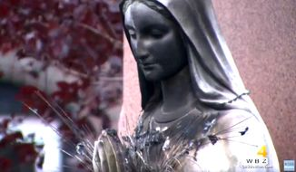 A statue of the Virgin Mary was vandalized at St. Peter's Church in Dorchester, Massachusetts, July 12, 2020. (Image: CBS-4 Boston video screenshot)