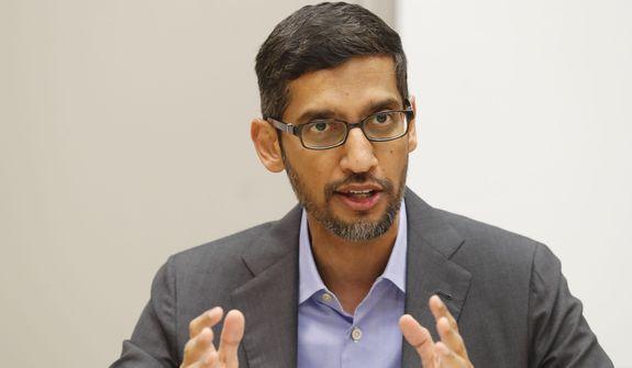 In this Oct. 3, 2019, file photo, Google CEO Sundar Pichai speaks during a visit to El Centro College in Dallas. (AP Photo/LM Otero, File)