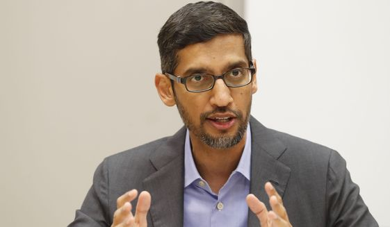 In this Oct. 3, 2019, file photo, Google CEO Sundar Pichai speaks during a visit to El Centro College in Dallas. (AP Photo/LM Otero, File)