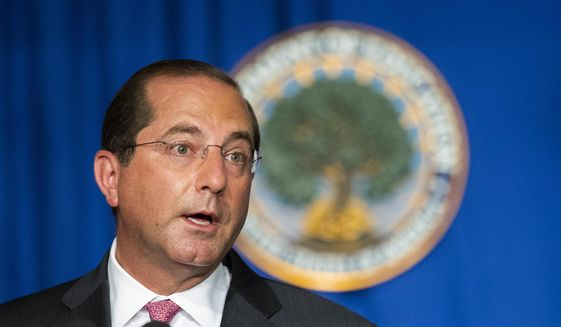 Department of Health and Human Services Secretary Alex Azar speaks during a White House Coronavirus Task Force briefing at the Department of Education building Wednesday, July 8, 2020, in Washington. (AP Photo/Manuel Balce Ceneta) ** FILE **