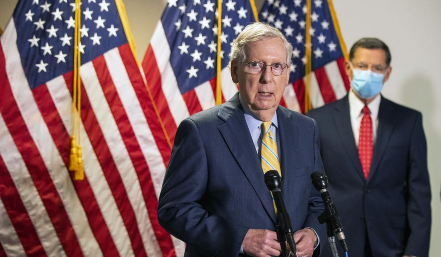 In this June 30, 2020, file photo, Senate Majority Leader Mitch McConnell, R-Ky., with Sen. John Barrasso, R-Wyo., speaks to reporters following a GOP policy meeting on Capitol Hill in Washington. (AP Photo/Manuel Balce Ceneta, File)