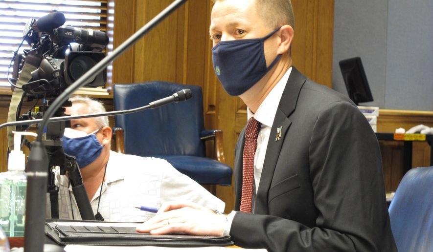 Louisiana Superintendent of Education Cade Brumley speaks to the House Education Committee about regulations governing the reopening of K-12 schools amid the coronavirus pandemic, Monday, July 13, 2020, in Baton Rouge, La. (AP Photo/Melinda Deslatte)