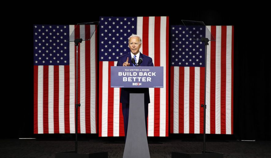"Former Vice President Joseph R. Biden said that his $2 trillion climate agenda would set the U.S. on a path for ""net-zero emissions no later than 2050."" (Associated Press)"