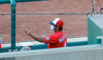 """Nationals manager Dave Martinez said the time off from the coronavirus shutdown helped his stating pitchers regroup. """"We didn't want this much time off, but it might be good,"""" Martinez said. (All-Pro Reels photograph)"""