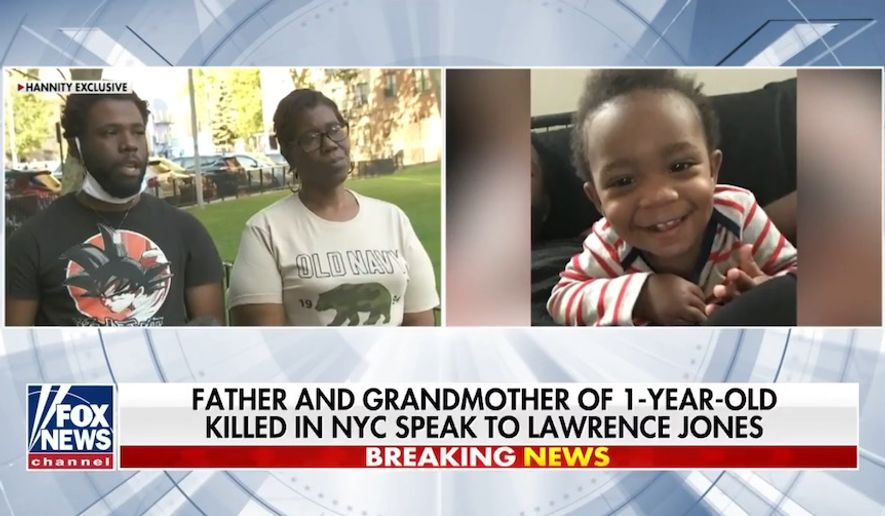 The family of 1-year-old Davell Gardner Jr., who was fatally shot in Brooklyn over the weekend, is pleading with their community to help police find whoever is responsible for his death. (screen grab via Fox News)