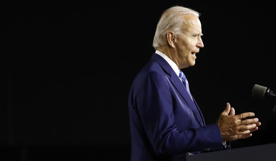 Democratic presidential candidate, former Vice President Joe Biden speaks during a campaign event, Tuesday, July 14, 2020, in Wilmington, Del. (AP Photo/Patrick Semansky)