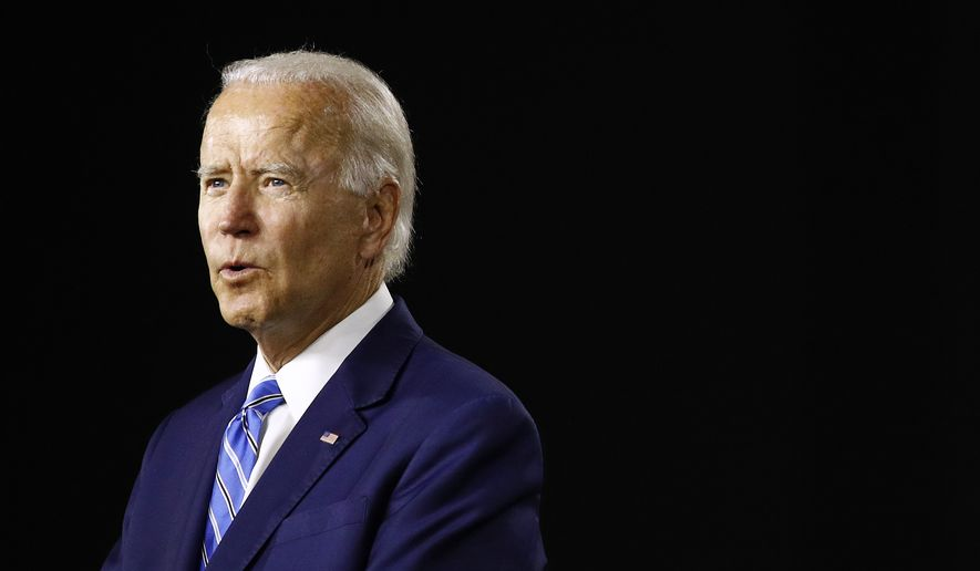 Democratic presidential candidate, former Vice President Joe Biden speaks during a campaign event, Tuesday, July 14, 2020, in Wilmington, Del. (AP Photo/Patrick Semansky) ** FILE **
