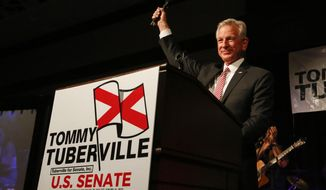 Former Auburn football coach Tommy Tuberville speaks to supporters after he defeated Jeff Sessions in Republican primary for U.S. Senate, Tuesday, July 14, 2020, in Montgomery, Ala. (AP Photo/Butch Dill)