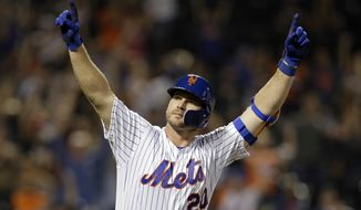 FILE - In this Sept. 28, 2019, file photo, New York Mets' Pete Alonso reacts after hitting hitting his 53rd home run of the season during the third inning of a baseball game against the Atlanta Braves, in New York. Alonso at the plate. Jacob deGrom on the mound. And a healthy Yoenis Céspedes pegged conveniently for designated hitter.There's no question the New York Mets have reasons to believe this pandemic-shortened season is perfect for them -- even without injured starter Noah Syndergaard. All they need to do is pick right up where they left off last year.(AP Photo/Adam Hunger, File)