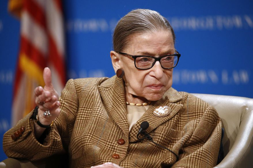 In this Feb. 10, 2020, file photo U.S. Supreme Court Associate Justice Ruth Bader Ginsburg speaks during a discussion on the 100th anniversary of the ratification of the 19th Amendment at Georgetown University Law Center in Washington. (AP Photo/Patrick Semansky) ** FILE **