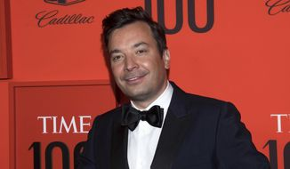In this April 23, 2019 file photo, Jimmy Fallon attends the Time 100 Gala in New York.  Fallon and the 'Tonight Show Starring Jimmy Fallon' show have returned to their New York City studio for the first time since the coronavirus epidemic shut down much of television. He recorded Monday's show in the studio along the show's band, the Roots, but without an audience. Guests like New York Gov. Andrew Cuomo were interviewed remotely.  (Photo by Charles Sykes/Invision/AP, File)