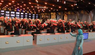 Maryam Rajavi, the President-elect of the National Council of Resistance of Iran, waving to thousands of members of the Mujahedeen-e Khalq at Ashraf-3, their new home in Albania on June 20, 2020, at an event marking the 40th anniversary of the start of the organization's resistance against the ruling theocracy. (Photo by Siavosh Hosseini, TME)