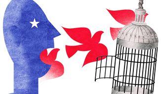 Illustration on freedom of speech by Alexander Hunter/The Washington Times