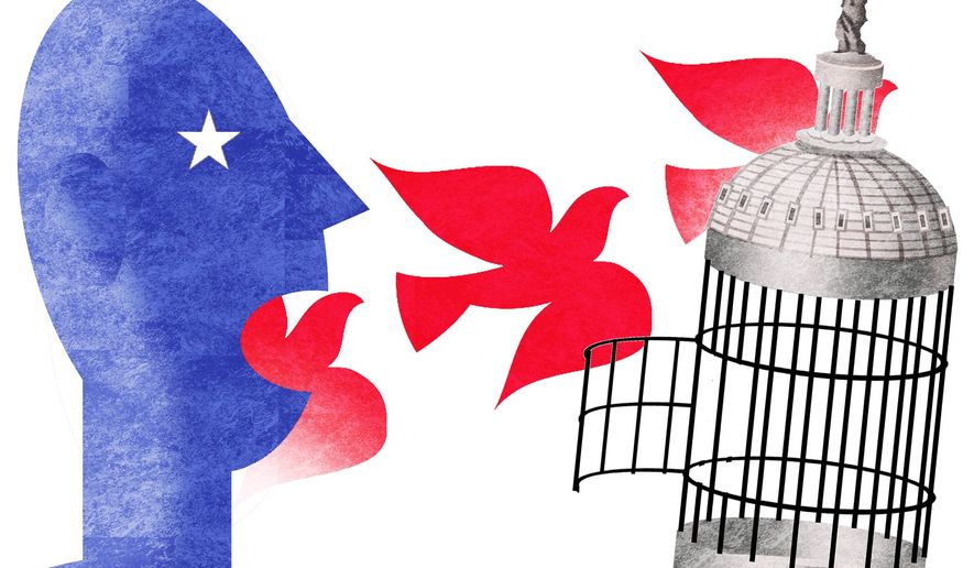 Illustration on freedom of speech by Alexander Hunter/The Washington Times