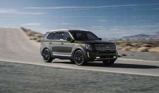 This photo provided by Kia shows the 2020 Kia Telluride, a midsize three-row SUV that offers plenty of utility and premium features at a great value. (Courtesy of Kia Motors America via AP)