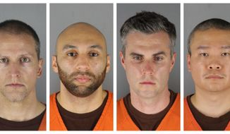 FILE - This combination of photos provided by the Hennepin County Sheriff's Office in Minnesota on Wednesday, June 3, 2020, shows Derek Chauvin, from left, J. Alexander Kueng, Thomas Lane and Tou Thao. Chauvin is charged with second-degree murder of George Floyd, a Black man who died after being restrained by him and the other Minneapolis police officers on May 25. Kueng, Lane and Thao have been charged with aiding and abetting Chauvin. Video from the body cameras of two officers charged in the death of Floyd is being made available for public viewing by appointment on Wednesday, July 15 but a judge has so far declined to allow news media organizations to publish the footage for wider distribution.  (Hennepin County Sheriff's Office via AP, File)