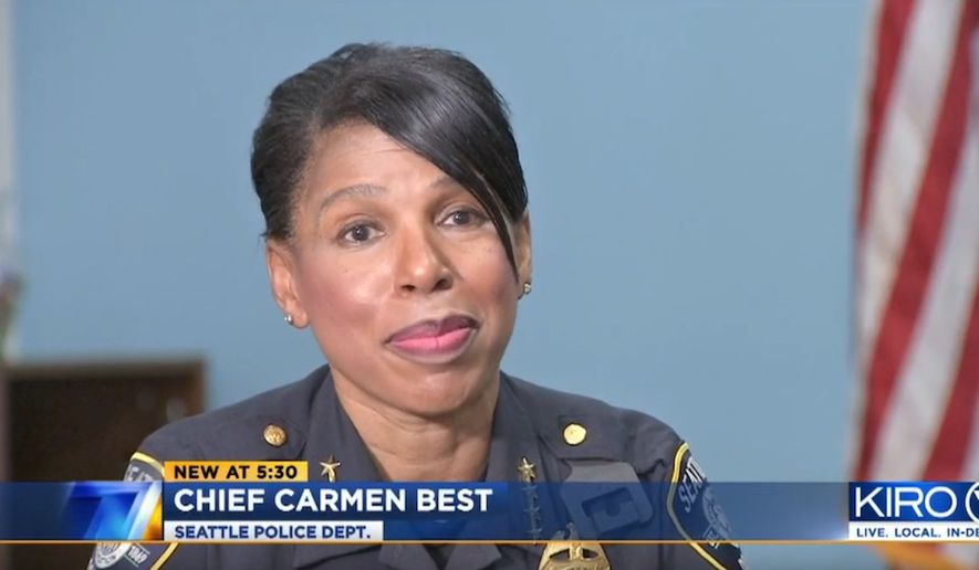 Seattle Police Chief Carmen Best shuts down a city council member's idea to fire officers based upon race, July 15, 2020. (Image: KIRO-7 video screenshot)