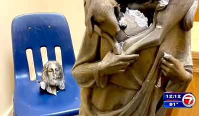 Parishioners at Southwest Miami-Dade church were shocked to find a statue of Jesus Christ beheaded outside the building, July 15, 2020. (Image: WSVN-7, Fox News Miami video screenshot)