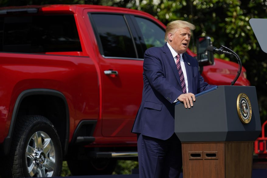 President Donald Trump speaks during an event on regulatory reform on the South Lawn of the White House, Thursday, July 16, 2020, in Washington. (AP Photo/Evan Vucci)