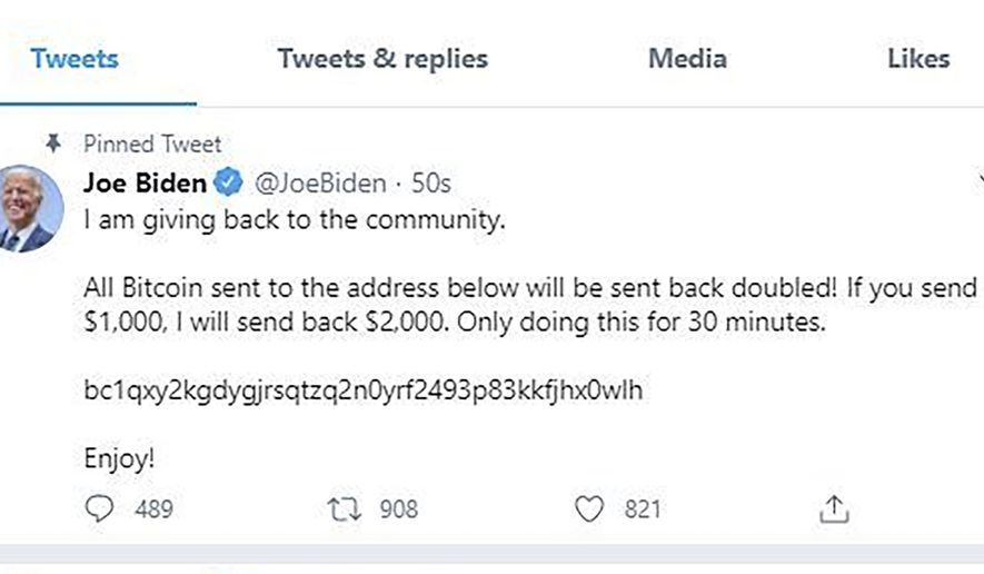 This image shows former Vice President and presidential candidate Joe Biden's Twitter page after it was hacked on Wednesday, July 15, 2020, as part of a widespread cryptocurrency scam. A breach in Twitters security that allowed hackers to break into the accounts of leaders and technology moguls is one of the worst attacks in recent years and may shake trust in a platform politicians and CEOs use to communicate with the public, experts said Thursday, July 16. The ruse discovered Wednesday included bogus tweets from Biden, Barack Obama, Mike Bloomberg and a number of tech billionaires. (Twitter via AP)