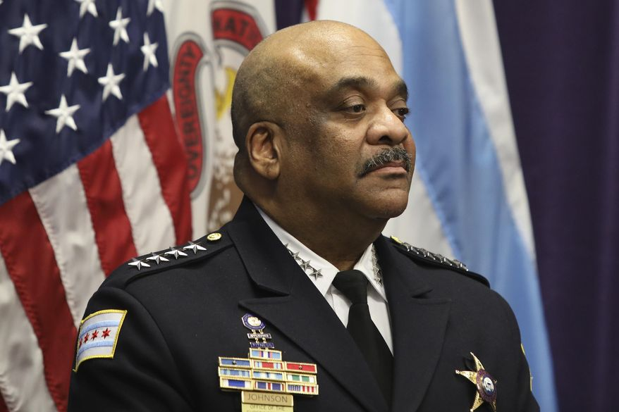 """FILE - In this Nov. 7, 2019 file photo, Chicago Police Superintendent Eddie Johnson speaks at a news conference in Chicago. An inspector general's report concluded Thursday, July, 16, 2020, that Johnson drove a city vehicle while under the influence of alcohol and lied about the incident that led to his December firing. Johnson wasfound asleep behind the wheel of his police carin October after consuming """"several large servings of rum"""" at a downtown restaurant with a member of his security detail, according to the Chicago Office of the Inspector General.(AP Photo/Teresa Crawford File)"""