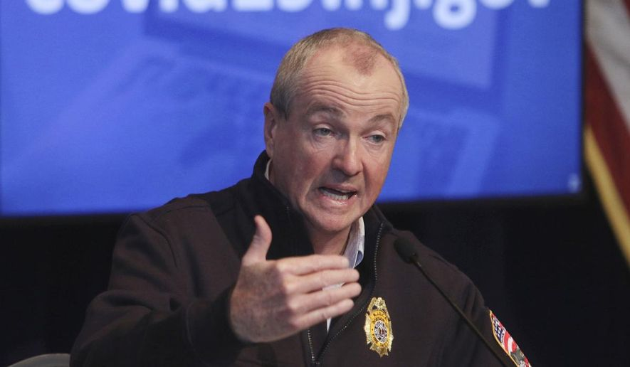 In this April 25, 2020 file photo, New Jersey Gov. Phil Murphy speaks during his daily press briefing at the the War Memorial in Trenton, N.J.  (Chris Pedota/The Record via AP, File)  **FILE**