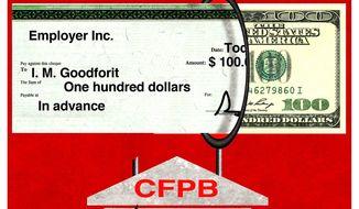 Illustration on CFPB same day loan policies by Alexander Hunter/The Washington Times