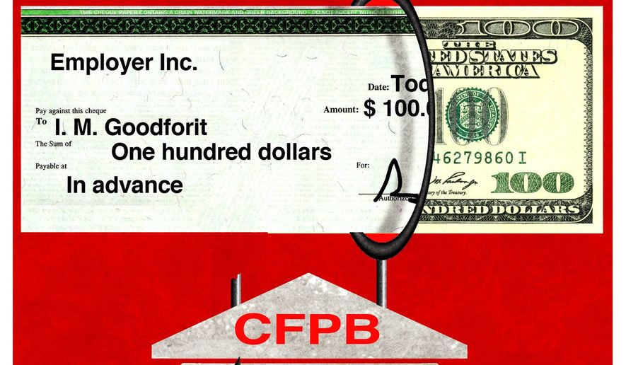 Illustration on CFPB same day loan policies by Alexander Hunter/The Washington Times