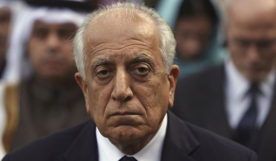 In this March 9, 2020, file photo, Washington's peace envoy Zalmay Khalilzad, attends Ashraf Ghani's inauguration ceremony at the presidential palace in Kabul, Afghanistan.  (AP Photo/Rahmat Gul, File)  **FILE**