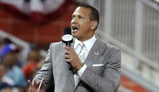 In this July 11, 2017, file photo, former Major League Baseball player Alex Rodriguez reports from the field during the MLB baseball All-Star Game in Miami. Rodriguez, among four groups of bidders for a possible purchase of the New York Mets, called for baseball players to accept the type of revenue-sharing system that is tied to a salary cap and sparked quick opposition from the union. (AP Photo/Lynne Sladky, File) **FILE**