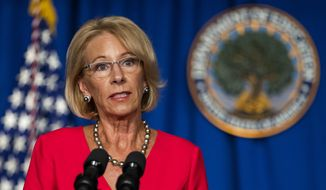 In this July 8, 2020, file photo, Education Secretary Betsy DeVos speaks during a briefing at the Department of Education building in Washington. On Friday, July 17, 2020. (AP Photo/Manuel Balce Ceneta, File)  **FILE**