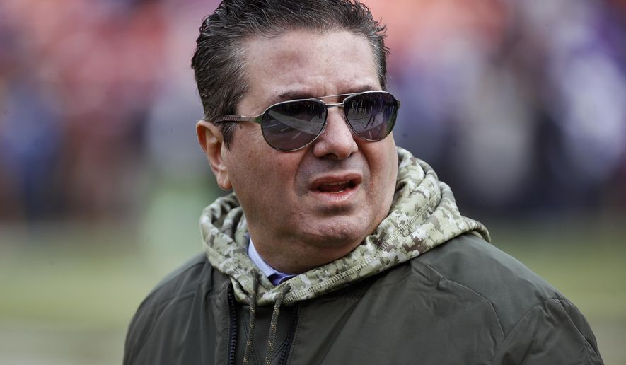 This Nov. 12, 2017, file photo shows Washington Redskins owner Dan Snyder walking across the field before an NFL football game against the Minnesota Vikings in Landover, Md. Snyder has hired a D.C. law firm to review the Washington NFL team's culture, policies and allegations of workplace misconduct. Beth Wilkinson of Wilkinson Walsh LLP confirmed to The Associated Press that the firm had been retained to conduct an independent review. (AP Photo/Patrick Semansky, File) **FILE**