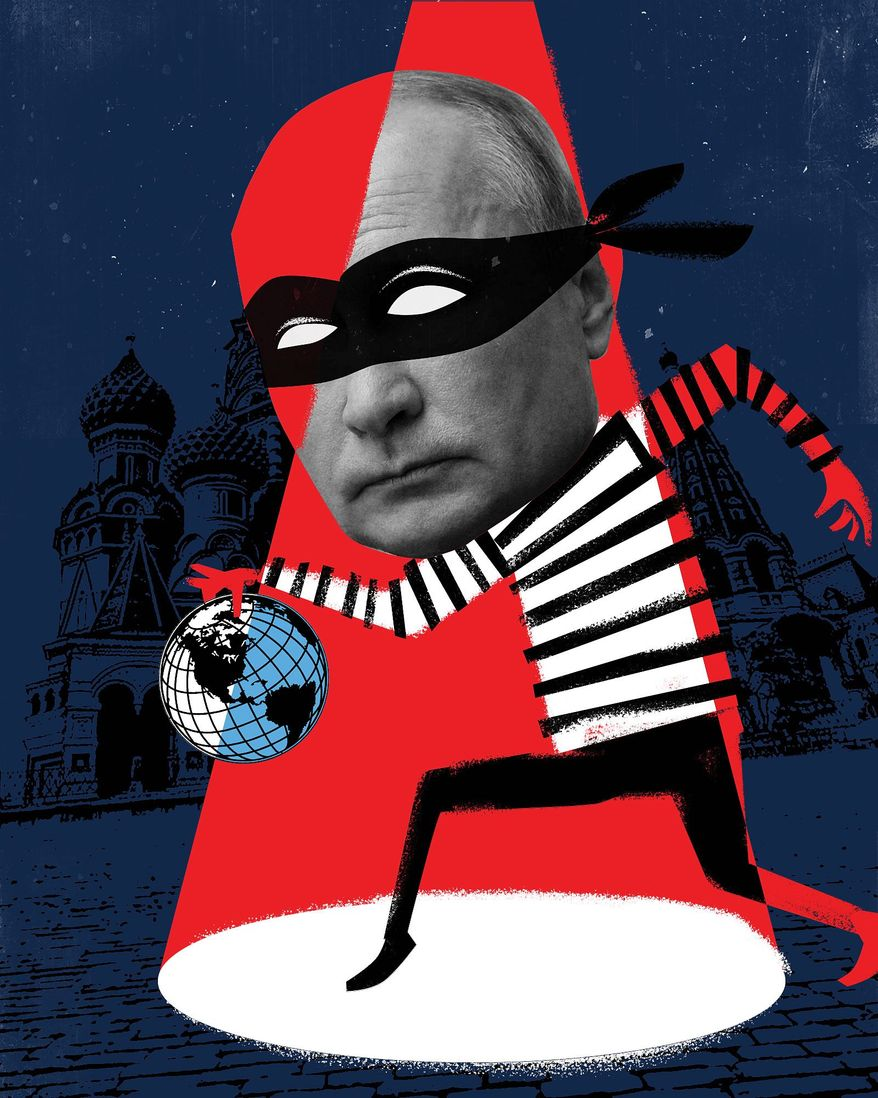 Illustration on Putin by Linas Garsys/The Washington Times
