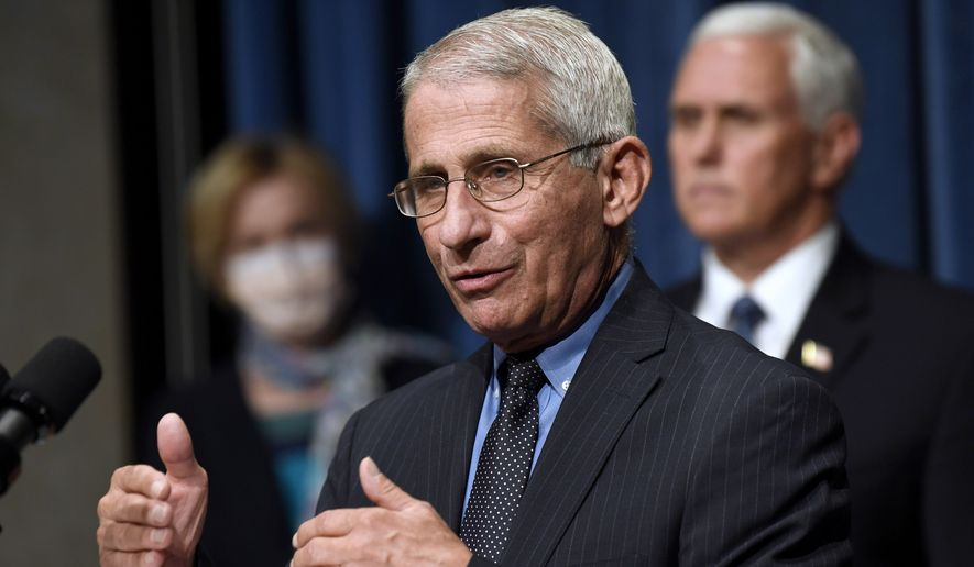 In this June 26, 2020, file photo, Director of the National Institute of Allergy and Infectious Diseases Dr. Anthony Fauci, center, speaks as Vice President Mike Pence, right, and Dr. Deborah Birx, White House coronavirus response coordinator, left, listen during a news conference with members of the Coronavirus task force at the Department of Health and Human Services in Washington. (AP Photo/Susan Walsh, File)  ** FILE **