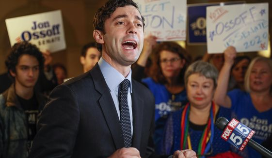 In this Wednesday, March 4, 2020, file photo, Jon Ossoff speaks to the the media and supporters after he qualified to run in the Senate race against Republican Sen. David Perdue in Atlanta. While his GOP opponent is favored by donors on Wall Street, Mr. Ossoff's campaign is having fundraising success in Silicon Valley. (Bob Andres/Atlanta Journal-Constitution via AP, File)  **FILE**